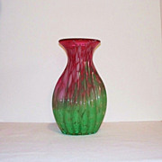 Bohemian Ribbed Spatter Glass Vase