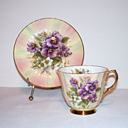 Crown Victorian Tea Cup and Saucer - Pansies on Rainbow Pastel