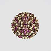 Lovely Coro Brooch - Imitation Pearls and Purple Rhinestones