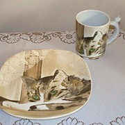 SALE Vista Alegre Minou-ettes Cat Mug and Plate