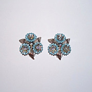 Coro Clip-On Earrings - Blue and Silver-tone Layered Flowers