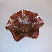 Fenton Vintage Grape Delight Carnival Glass Bowl - Rare Rootbeer Color