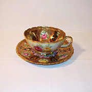 Unmarked Nippon Roses and Heavy Gold Tea Cup and Saucer
