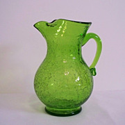 Kanawha Lime Green Crackle Glass Pitcher
