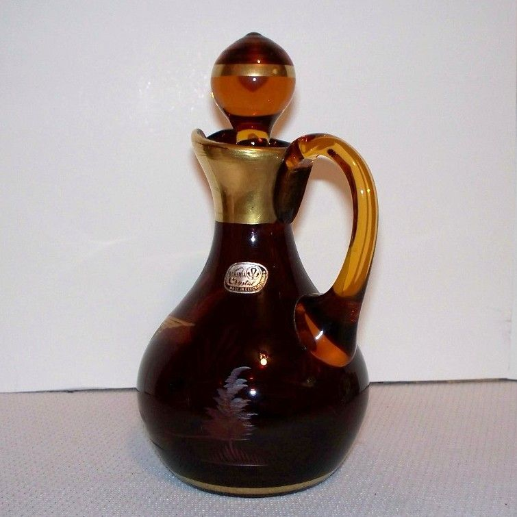 Bohemian Amber Cut Crystal Cruet - Flying Duck