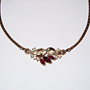 Trifari Alfred Philippe Necklace Ruby Red and Crystal Stones