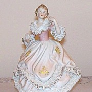 Lenwile China Dresden Lace Lady Music Box