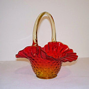 SALE Fenton Amberina Hobnail Glass Basket