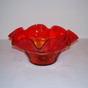 Flared Amberina Glass Bowl
