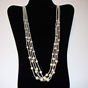 SALE Trifari Four-Strand Faux Pearl Necklace