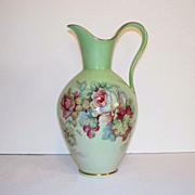 SOLD Imperial Germany Green Ewer with Roses Signed de Bec