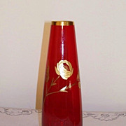 Ruby Red and Gold Cut Glass Vase - Gold Rose