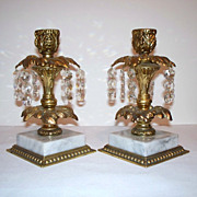 Elegant Brass and Marble Girandole / Candle Holders