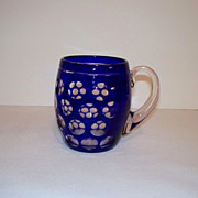 Bohemian Glass Cased Cobalt Blue Coin Dot Mug