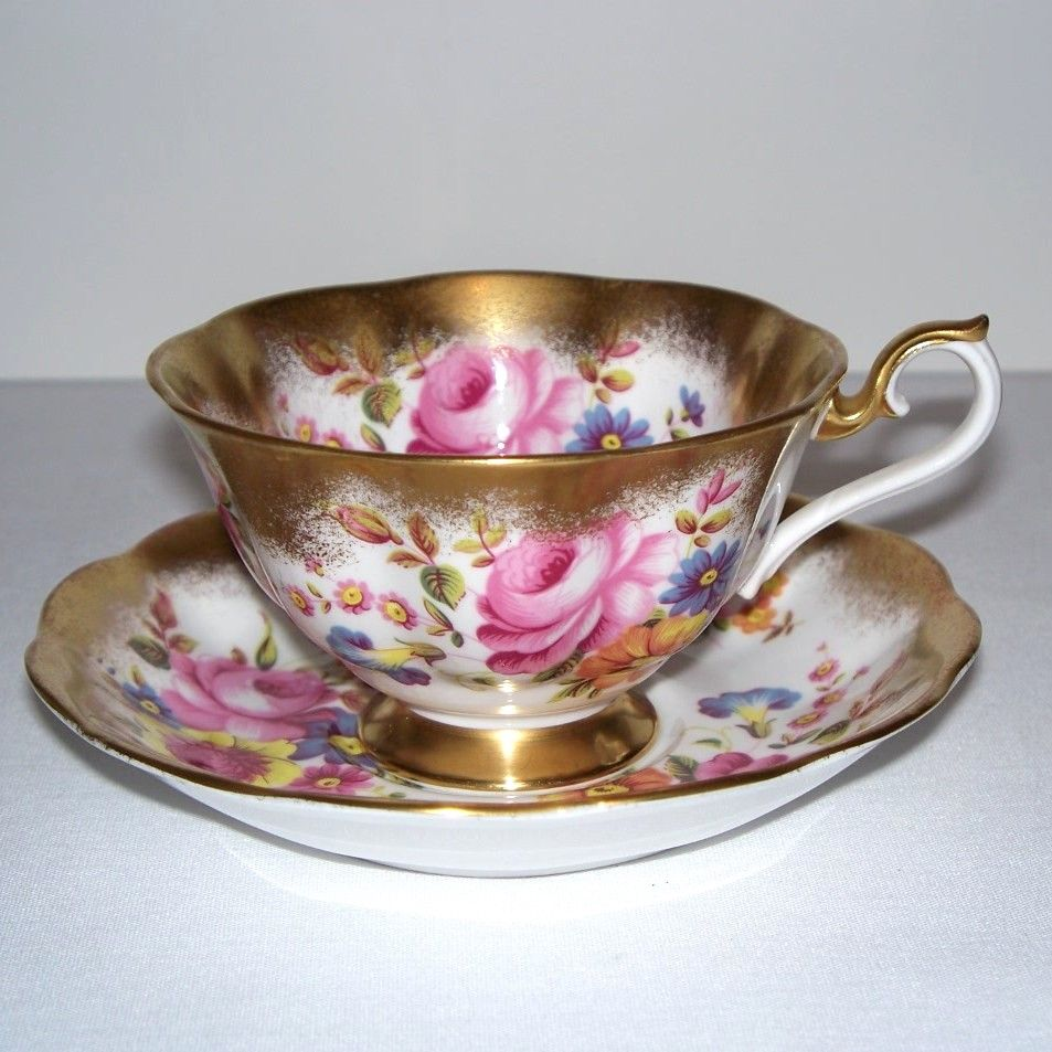 Royal Albert Heavy Gold and Floral Tea Cup and Saucer