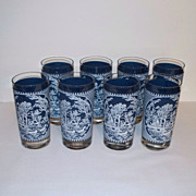 Currier and Ives Blue Old Grist Mill Glass Tumblers