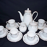 Chinese Porcelain Coffee Set - Grey and Black Oriental Flowers