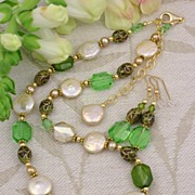 Freshwater Coin Pearls, Swarovski Graphic Crystal and Cloisonne Necklace and Earrings Set in 1