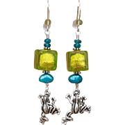 Venetian Glass and Frog Charm Earrings