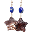SALE Lapis Lazuli and carved Mother of Pearl Earrings in 14 K Gold-Fill