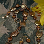 Golden Baroque Pearls and Tiger Eye Necklace and Earrings Set