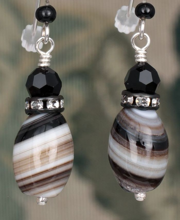 Agate and Swarovski Crystal Earrings in Sterling Silver