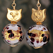 Golden Cat Lovers Earrings