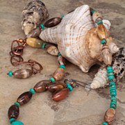SALE Turquoise and Wood Jasper 'Tropical Beach' Necklace with Earrings