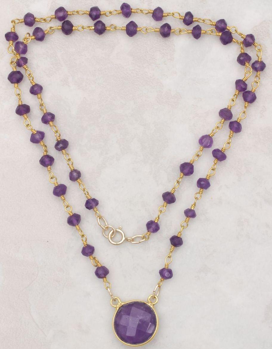 amethyst pendant and gemstone necklace from sundancegems