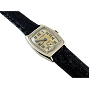 Art Deco Hamilton Langley 14k Solid White Gold wrist watch