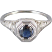 18k white gold Edwardian Art Deco .40 ct. sapphire solitaire filigree ring