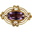 14k gold Victorian amethyst pearl brooch pin