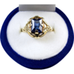 Signed House of Kraus 10k gold vintage synthetic blue sapphire ring