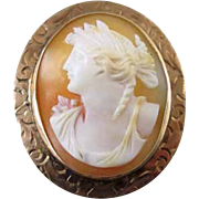 Signed Keller & Co Victorian 10k rose gold shell cameo pin brooch pendant