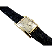 MINTY Vintage Art Deco 14k SOLID gold Gruen Curvex Precision 3 diamond dial tank wrist watch t