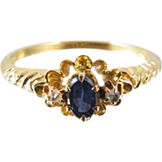 Antique Edwardian 10k gold blue sapphire doublet and diamond ring