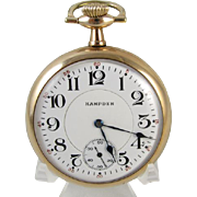 Mans 1917 antique Hampden 21 jewel William McKinley railroad train pocket watch 16 size gold f