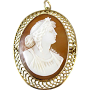 Signed Granbery Star Goddess 10k Gold Victorian cameo brooch pin pendant