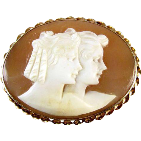1920s Two ladies gold cameo brooch pin pendant
