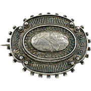 Victorian silver hair locket pin brooch