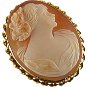 1920s Art Deco gold cameo pin signed Michallef