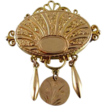 Victorian 12k gold ornate engraved pin