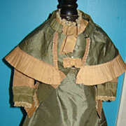 HUGE PRICE REDUCTION: Elegant 3-Piece Antique French Fashion Silk Promenade Costume; Hand-Stit