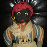 "SOLD Vintage 17"" Black Americana ""Mammy"" Cloth Doll; Googly Eyes - Red Tag Sale"