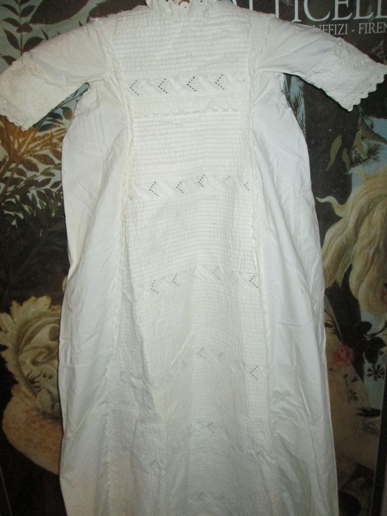 "Most Elaborate 43"" Antique Christening Gown"