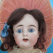 SALE PENDING Cabinet-Size Mystery Doll with Paperweight Eyes