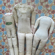 3 Antique Bodies for Shoulder-head Dolls; TLC