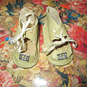 Antique Doll Shoes, Pale Green with Silver