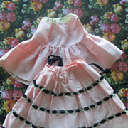Doll Skirt with Velvet Trim; Underskirt and Sash