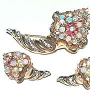 Rare signed REJA Cornucopia Pin and Earrings Demi, Rhinestones, Faux Opals